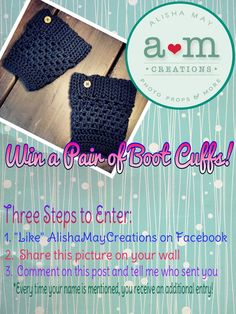 AlishaMayCreates: Blog Kickoff & Facebook Giveaway!  #freestuff #bootcuffs #boottoppers
