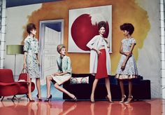 painted backdrops, in this Vogue editorial, with retro ensembles styled so beautifully by the great Grace Coddington