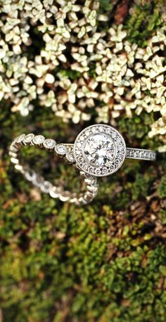 I am absolutely in love with this ring!!!  18k white gold round bezel halo diamond ring with side stones