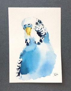 Periquito Periquito Original acuarela azul por CMwatercolors