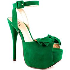 Luichiny Women's Ready Or Not - Green ($90) ❤ liked on Polyvore featuring shoes, sandals, heels, zapatos, green, ankle strap platform sandals, bow sandals, platform sandals, green high heel sandals and green sandals