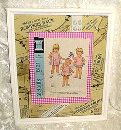Great decorating idea to use a vintage sewing pattern, especially if the envelope and/or pieces are not in great shape.