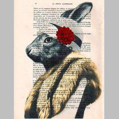 Miss Rabbit posing ORIGINAL ARTWORK Hand Painted by Cocodeparis, $10.00
