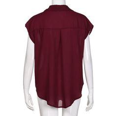 b882ba5ced5 Realdo Womens T Shirt Casual Sleeveless VNeck Pleated Ruffled Plus Size  Loose Chiffon Tank TopWineM