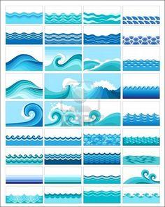 collecte des vagues marines, dessin stylisé