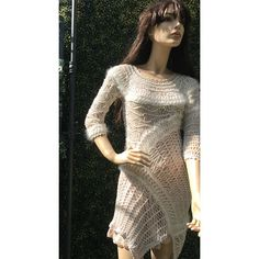 Robe-fourche-art-tricot-crochet-angora Tricot D'art, Angora, Crochet Art, Creations, Unique, Sweaters, Dresses, Fashion, Knit Jacket