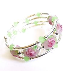 Silver Memory Wire Bracelet Pink Lampwork Glass by AssiaDesigns, $35.00