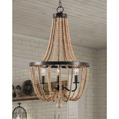 Mindy 3 Light Wood Bead Chandelier