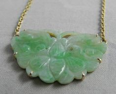 Antique mikimoto jade necklace a yellow gold and carved jadeite vintage carved jade and 14k gold pendant with necklace aloadofball Gallery