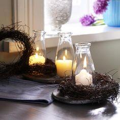 Kerzen-Deko mit Reisigkranz