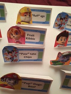Paw Patrol- DIY signs for buffet table