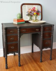 Vintage Furniture I like that the drawers are original and there's a two tone. Graphite Chalk Paint ® by Laura of Whimsical Perspective Whimsical Painted Furniture, Chalk Paint Furniture, Furniture Projects, Furniture Making, Cool Furniture, Accent Furniture, Diy Projects, Mahogany Furniture, Refurbished Furniture