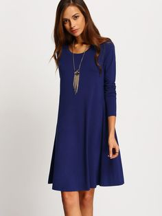 Fabric :Fabric is very stretchy Season :Fall Pattern Type :Plain Sleeve Length :Long Sleeve Color :Blue Dresses Length :Short Style :Basic Material :Cotton Neckline :Round Neck Silhouette :Shift Shoul