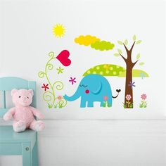 Cartoon Animal Forest Wall Stickers decals for Nursery and kids room
