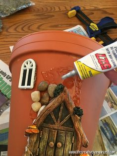 Here's how to make a sweetly whimsical DIY fairy house planter from a terra cotta pot & other inexpensive items. It's really easy, so why not give it a try? # Gardening in pots Whimsical DIY Fairy House Planter - LIFE, CREATIVELY ORGANIZED Fairy Crafts, Garden Crafts, Garden Art, Garden Planters, Garden Ideas, Succulents Garden, Fairy Garden Houses, Diy Fairy House, Fairies Garden