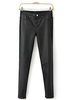 Black Contrast PU Leather Rivet Pockets Pant, 24.67