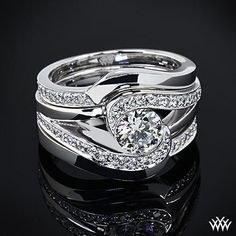 White Gold Custom Half Bezel Diamond Engagement Ring set with a ct G Diamond center stone. The Band: White Gold Matching Custom Anniversary Band including of A Cut Above diamond melee. Bridesmaid Jewelry Sets, Bridal Jewelry Sets, Bridal Rings, Custom Wedding Rings, Diamond Wedding Rings, Solitaire Rings, Wedding Set, Gold Wedding, Perfect Wedding
