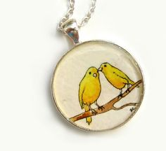 The Gossips, original watercolor painting necklace of sunshine yellow canaries for spring!