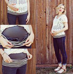 Chica embarazada modificando su ropa