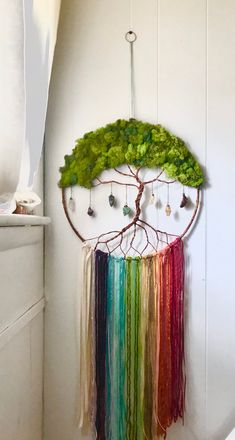 Rainbow Tree of Life Tree of Life Wall decor Rainbow Wall Moon Decor, Wall Decor, Diy Wall, Moon Dreamcatcher, Dreamcatchers, Diy And Crafts, Arts And Crafts, Rainbow Ribbon, Rainbow Wall
