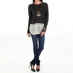 RD Style Women's Contemporary Sweater with Chiffon Hem | from Von Maur #VonMaur #StyleCorner #FallOutfit #FallLook #Style