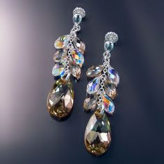 Long Earrings with champagne crystals from Zoran Designs Jewelry