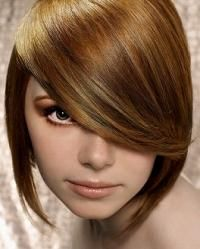 pretty hair color and copper eye shadow, nude lips