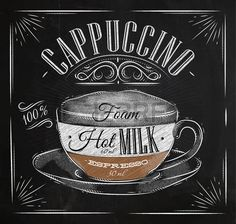 coffee type: Poster coffee cappuccino in vintage style drawing with chalk on the blackboard