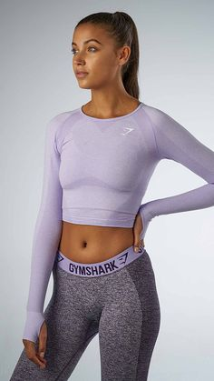 The most comfortable long sleeve crop top for your workout with a classic seamless knit.