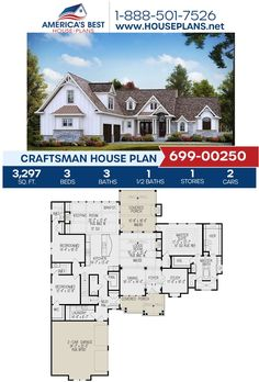 Build luxurious with this stunning Craftsman design. Plan 699-00250 is featured by 3,297 sq. ft., 3 bedrooms, 3.5 bathrooms, a mud room, a bonus room, a media room, and a study. Find more information about this plan on our website. #craftsman #houseplans