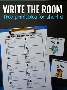 This write the room freebie is a fun way for kindergarten kids to practice CVC words with the short a vowel. Simply post the pictures around the room and have kids copy or unscramble the words onto their recording sheets. #writetheroom #kindergarten #kindergartenfreebie #phonics #CVCwords