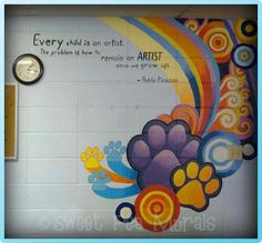 art classroom mural with Picasso quote Collaborative Art Projects, School Art Projects, School Ideas, Classroom Walls, School Classroom, Classroom Signs, Classroom Ideas, High School Art, Middle School Art