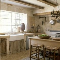 French farmhouse kitchen of Ruth Gay of Chateau Domingue.Chateau Domingue Timeless European Elegance and French farmhouse style in Ruth Gay's exquisite home. See more Gorgeous Sources for European Country & French Farmhouse Interior Design Inspiration! Country Interior Design, Country Kitchen Designs, French Country Kitchens, Rustic Kitchen Decor, Kitchen Ideas, Diy Kitchen, Kitchen Cabinets, Country French, Kitchen Hacks