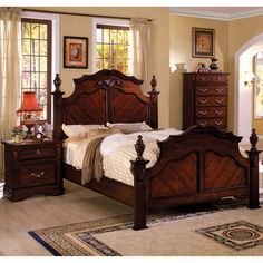 @Overstock - Furniture of America Westin Traditional 3-Piece Dark Cherry Poster Bedroom Set - Charm and design come together in the form of this warm four poster bed. Ornate carvings embellish the headboard and matching case goods, dramatic bed knobs decorate the bed frame, and antique brass pulls give this bedroom set a regal flair.  http://www.overstock.com/Home-Garden/Furniture-of-America-Westin-Traditional-3-Piece-Dark-Cherry-Poster-Bedroom-Set/9251836/product.html?CID=214117 $1,599.99