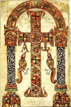 A Crux gemmata from an Insular illuminated manuscript ~ETS Medieval Manuscript, Medieval Art, Renaissance Art, Illuminated Letters, Illuminated Manuscript, Corpus Christi, Illumination Art, Book Of Kells, Principles Of Art