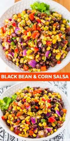 Black Bean and Corn Salsa for a Healthy and Delicious Dish! This Black Bean Corn Salsa Recipe is perfect for game day served with chips. Or, use this vegan black bean salad recipe as a tasty addition to your homemade burrito bowl. Corn Salad Recipes, Appetizer Recipes, Corn Salsa Salad Recipe, Vegan Salsa Recipe, Fresh Corn Recipes, Gluten Free Appetizers, Recipe Recipe, Black Bean Corn Salsa, Salsa With Corn