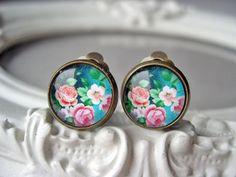 Pretty pink flower rose clip earrings sweet lolita by DinaFragola