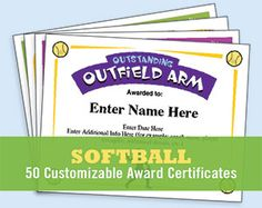 Softball certificates for players, coaches and team parents. 50 different designs. A great way to recognize all those who had an impact on your season!