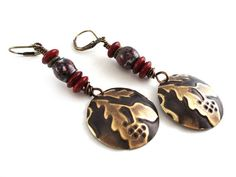 Embossed Acorn Dangle Earrings with Enameled Beads  by AllTwisted