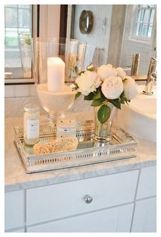 Bathroom Vanity Tray, Bathroom Counter Decor, Small Bathroom Organization, Modern Bathroom Decor, Bathroom Countertops, Bathroom Spa, Laundry In Bathroom, Bath Decor, Budget Bathroom