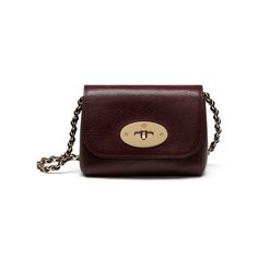 Mini Lily in Oxblood Coloured Natural Leather | Lily | Mulberry.  $545.  Chain can be tucked inside if you want to use it as a clutch.