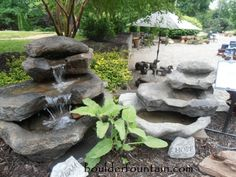 Stacked Rock Falls. Great fountain for decks, patios or in the garden. We ship. For more info, videos and pricing follow this link. http://www.boulderfountain.com/basalt-fountains.html