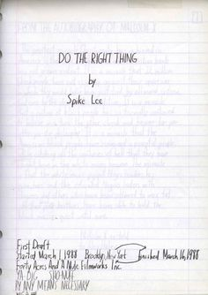 Original script of Spike Lee's 'Do the Right Thing'
