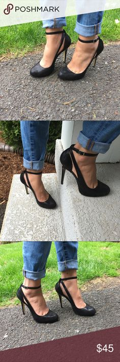 """INC international concepts Lucey black pumps INC international concepts Lucey black pumps- leather upper, ankle straps, cushioned footbed, almond toe, heel 4.5"""", 1"""" platform, size 8M..this is the most comfortable pumps ever, too bad I grow out of it 😩.. Only flaws are the bottoms,this is perfect for the wedding / Prom season. INC International Concepts Shoes Heels"""