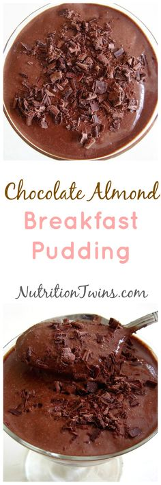 Chocolate Almond Breakfast Pudding | Only 124 Calories with 7 Grams of Fiber | Not overly sweet | For MORE RECIPES, fitness & nutrition tips please SIGN UP for our FREE NEWSLETTER www.NutritionTwins.com