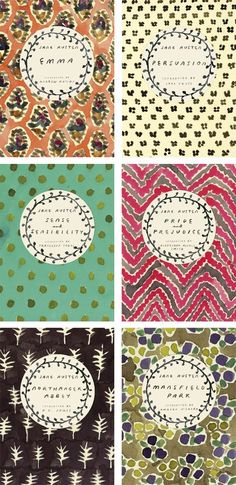 Love these covers of the Jane Austen classics Emma, Persuasion, Sense and Sensibility, Pride and Prejudice, Northanger Abbey and Mansfield Park.
