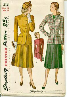 1940s Vintage Suit Pattern  SIMPLICITY 2151  by ShellMakeYouFlip, $24.50