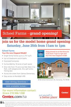 New Homes for Sale in Converse, Texas  Join Us for the Grand Opening of Scheel Farms This Saturday, June 25th!  Enjoy Kona Ice from 11am to 1pm | Tour the new Claypool Model  |  Surrounded by 18 acres of park space!  http://www.centex.com/communities/TX/converse/ScheelFarms/209572/index1.aspx#.V215AuLwuM9