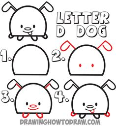 how to draw cartoon doggy from the letter D shape