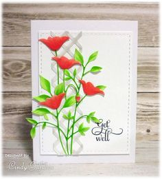 Poppy Get Well by Frenzied Stamper at SCS. The poppy heads from Prim Poppies were coloured with Copics, cut off and added to Fresh Foliage.